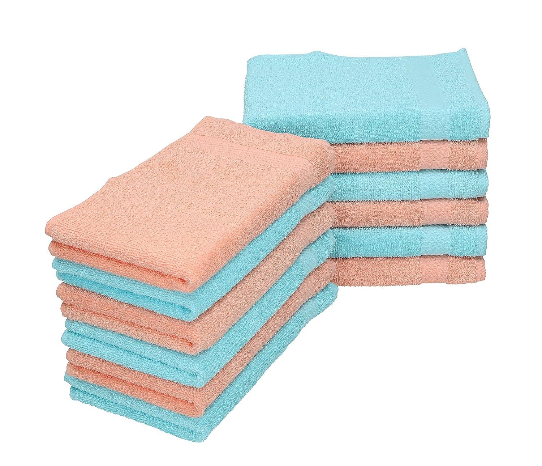 Betz 12 Piece Towel Set 12 Guest Towels 6 apricot & 6 turquoise PALERMO 30x50 cm 100% Cotton