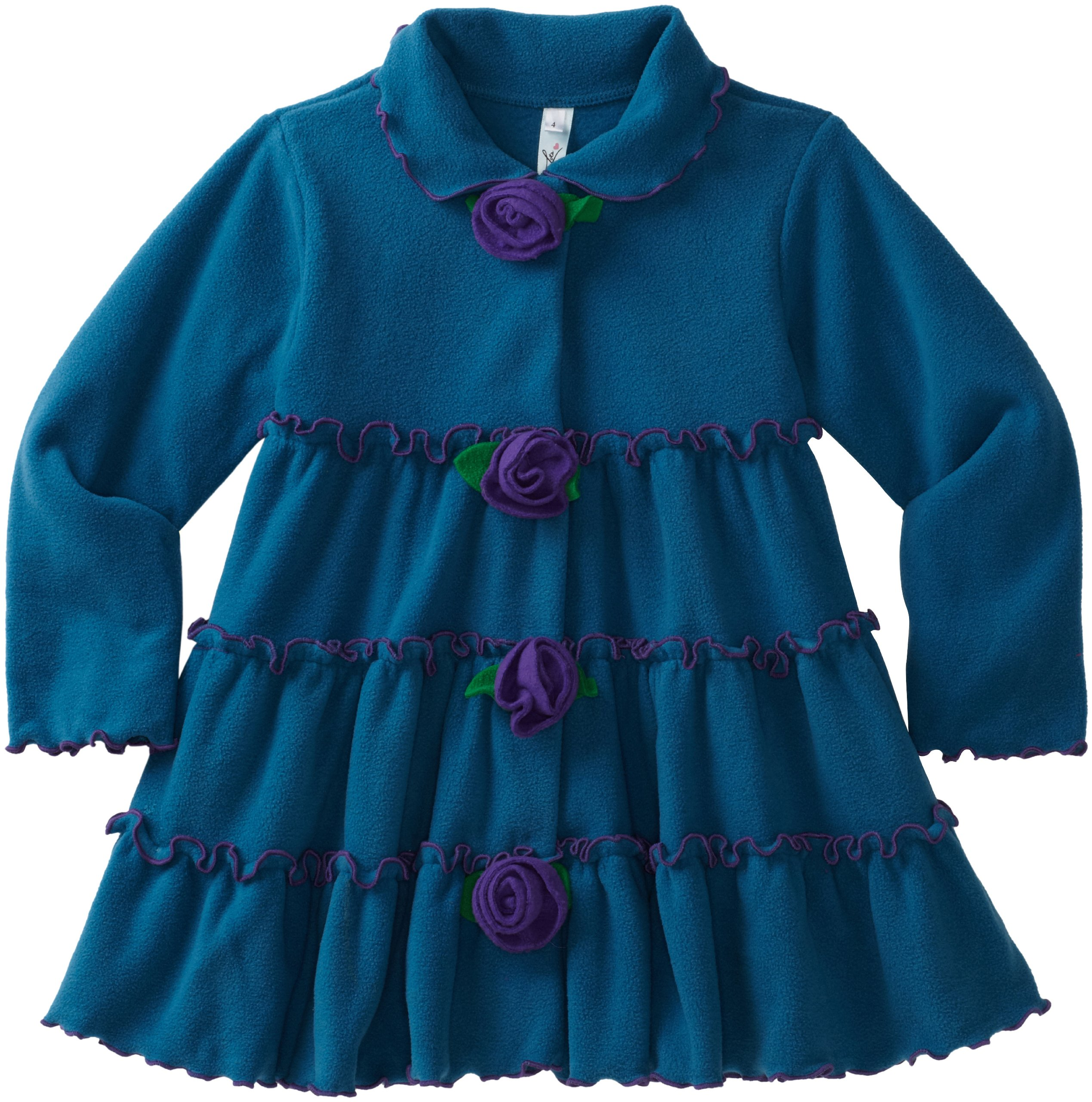 Love U Lots Little Girls'  Tiered Jacket With Flower Trim, Peacock, 5