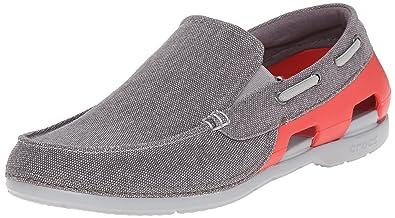 Mens crocs Men's Beach Line Canvas M Boat Shoe Graphite/Flame 10 M US Outlet Store Size 41
