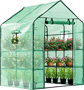 VIVOSUN 57x57x77-Inch Mini Walk in Green House with Window and Anchor Plant Garden Hot House 2 Tiers 8 Shelves
