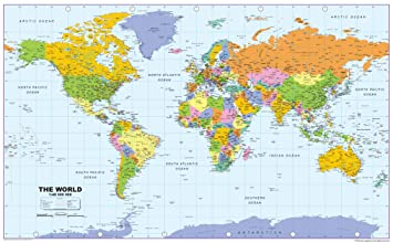 Full Map Of The World.I Love Maps World Political Map Paper Laminated Size 90 X 70 Cm Gm