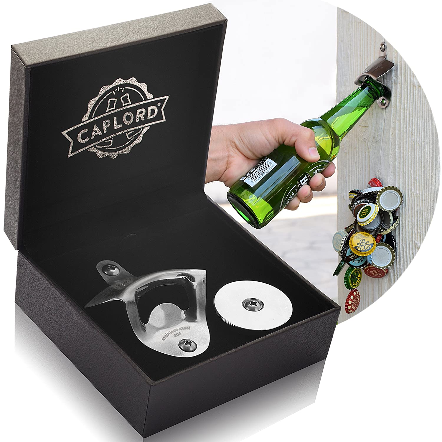Bottle opener Wall mount with magnetic cap catcher