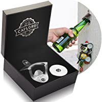 Bottle Opener Wall Mounted with Magnetic Cap Catcher - Stainless Steel - by CAPLORD, Easy to Mount, Cool Gift for Beer Lovers, Funny Housewarming, Novelty Birthday or Christmas Gifts Idea for Men and Women