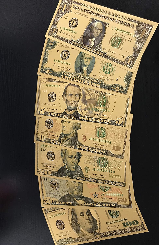 7Pcs//set commemorative gold foil usa dollars paper money banknotes collection v!