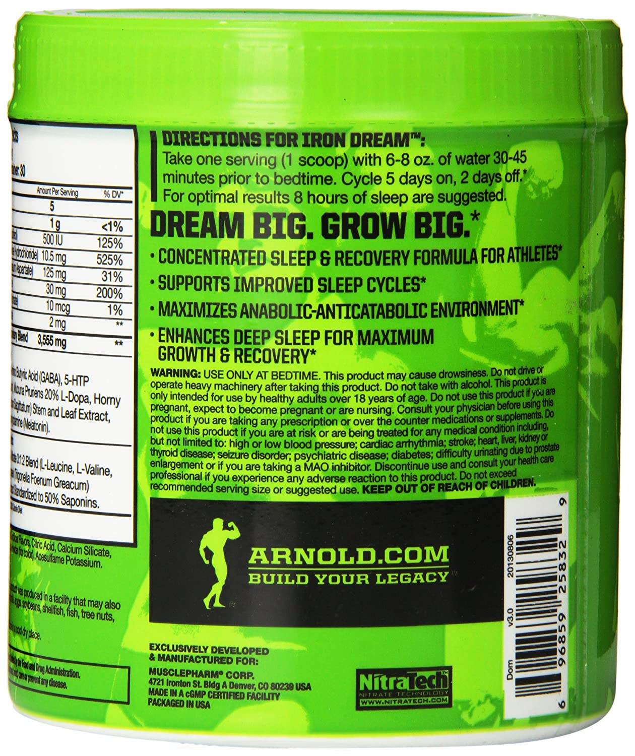 Amazon.com: Muscle Pharm Arnold Schwarzenegger Series Iron Dream Nighttime Recovery, Fruit Punch, 5.92 Ounce (30 Servings): Health & Personal Care