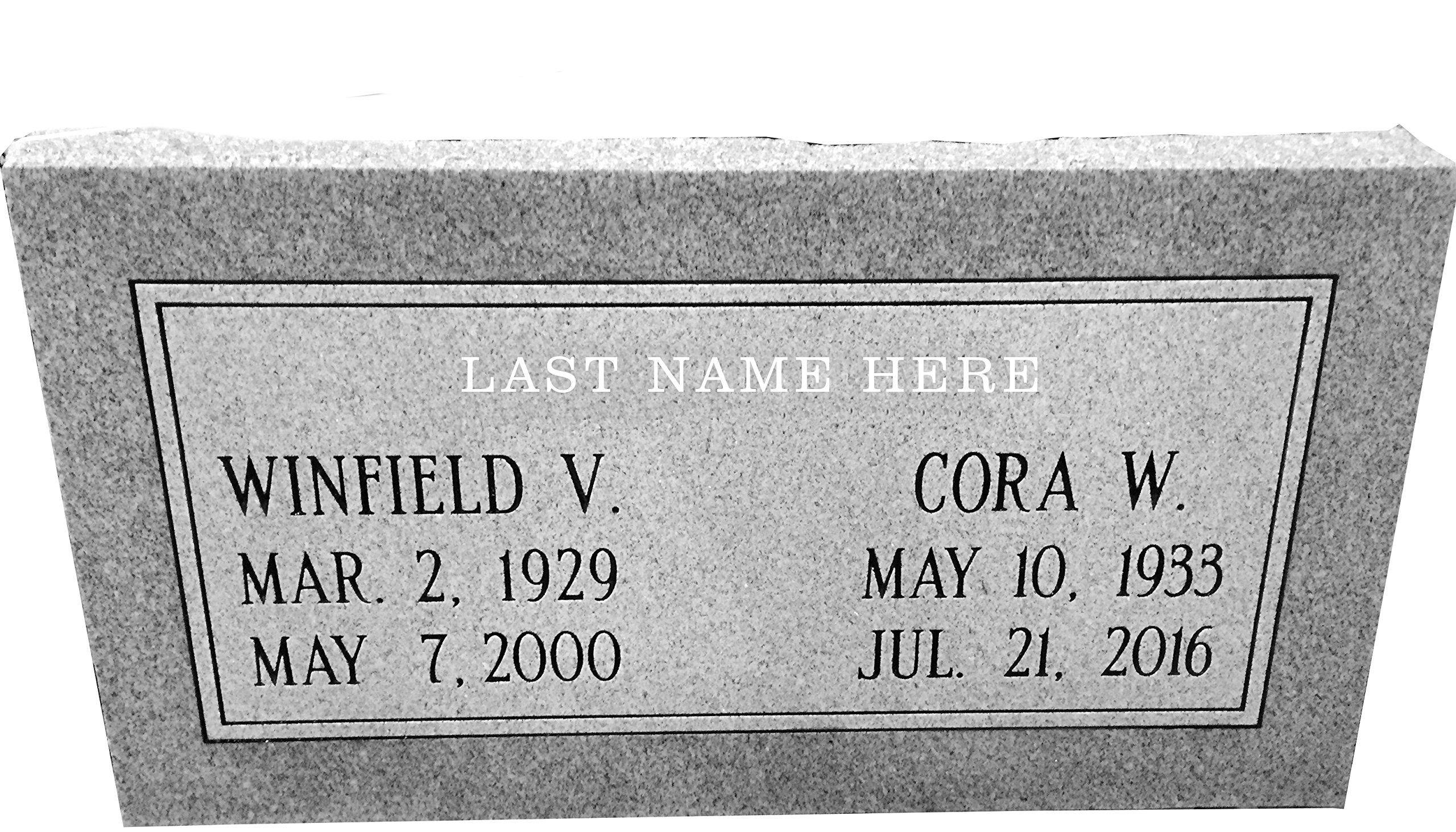 Granite Headstone 24''x12''x4'' Companion Double
