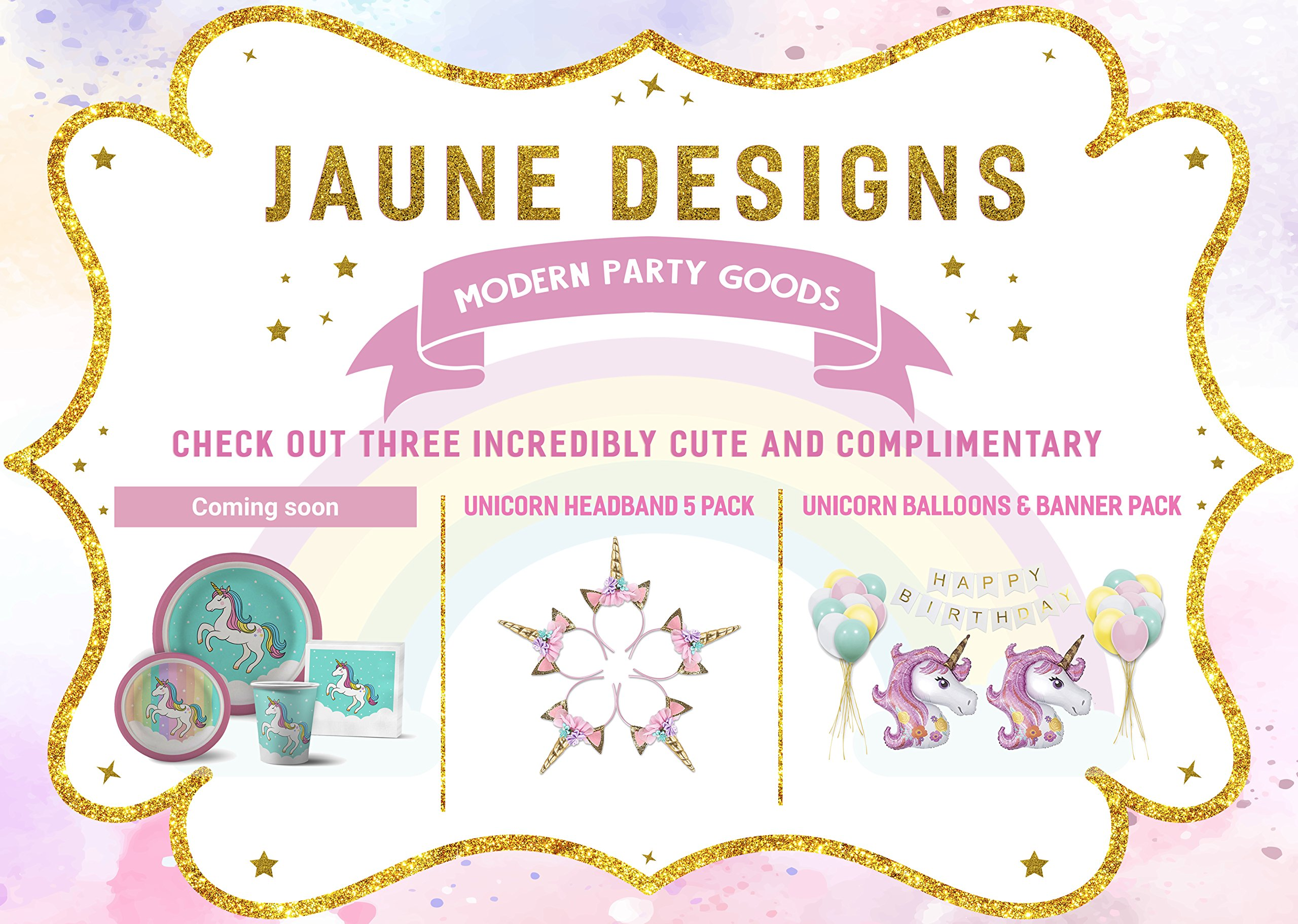 JAUNE DESIGNS Handmade Unicorn Headbands Party Supplies - Value 5 Pack One Size fits All by Party Dash 9