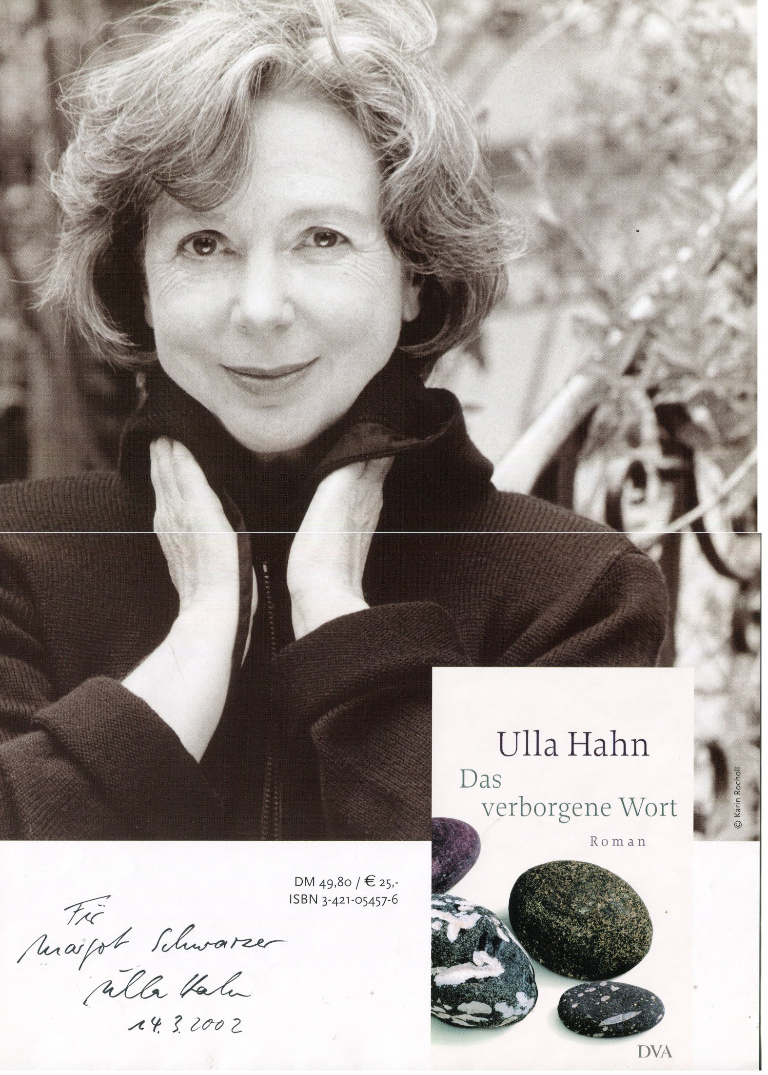 Ulla Hahn autograph, German poet and novelist, signed poster