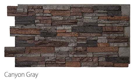 Faux Stacked Stone Wall Panels Interior Exterior 24u201d X 48u201d Canyon Gray
