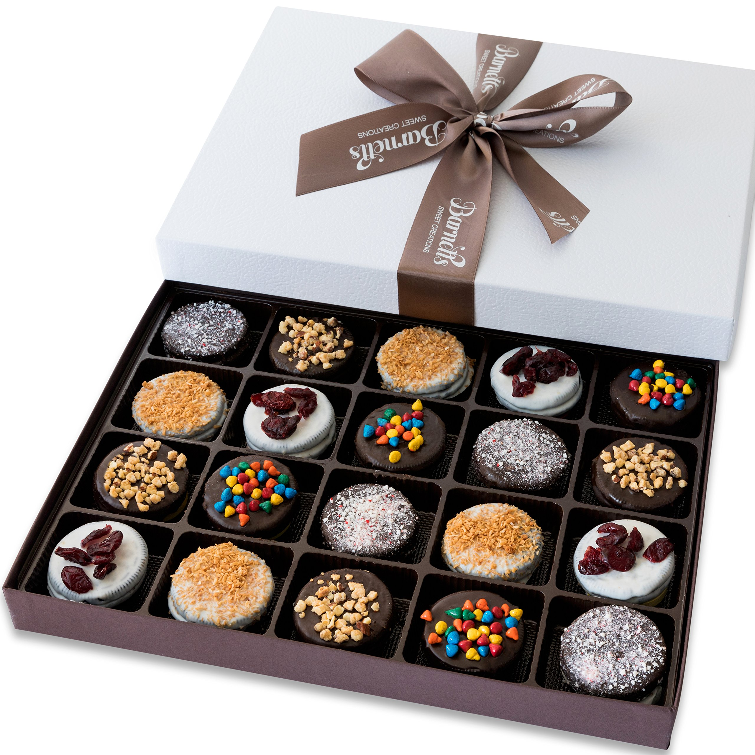 Barnett's Holiday Gift Basket - Elegant Chocolate Covered Sandwich Cookies Gift Box - Unique Gourmet Food Gifts Idea For Men, Women, Birthday, Corporate, Mothers Day or Valentines Baskets for Her by Barnetts Fine Biscotti