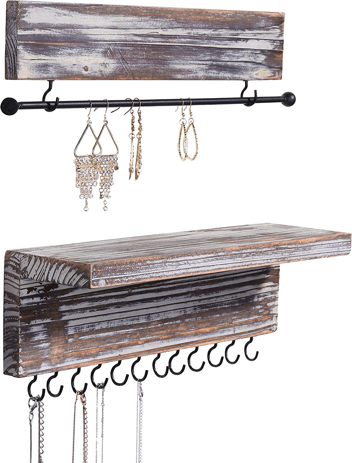 MyGift 2-Piece Wall Mounted Rustic Torched Wood Hanging Jewelry Organizers with 12 Hooks, Bracelet & Necklace Bar and Shelf