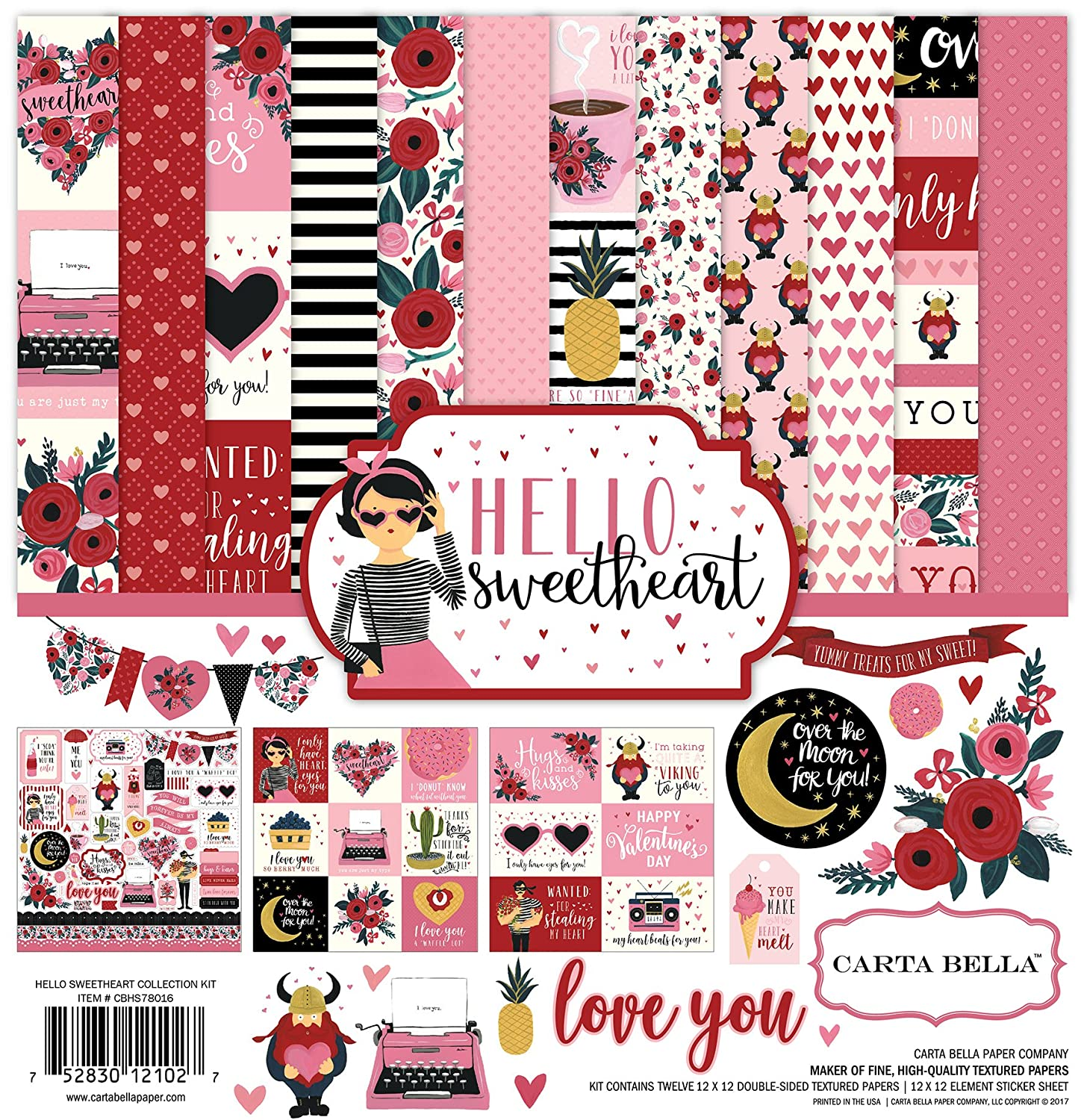 Carta Bella Paper Hello Sweetheart Collection Kit, 12-x-12-inch Echo Park Paper Company CBHS78016