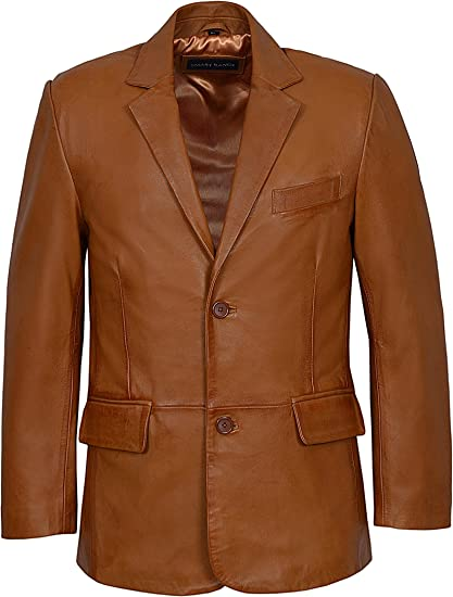 Mens Knee Length Leather Coat Jacket Brown Soft Napa Leather Classic Long Jacket
