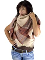 Peach Couture Warm Tartan Plaid Woven Oversized Fringe Scarf Blanket Shawl Wrap