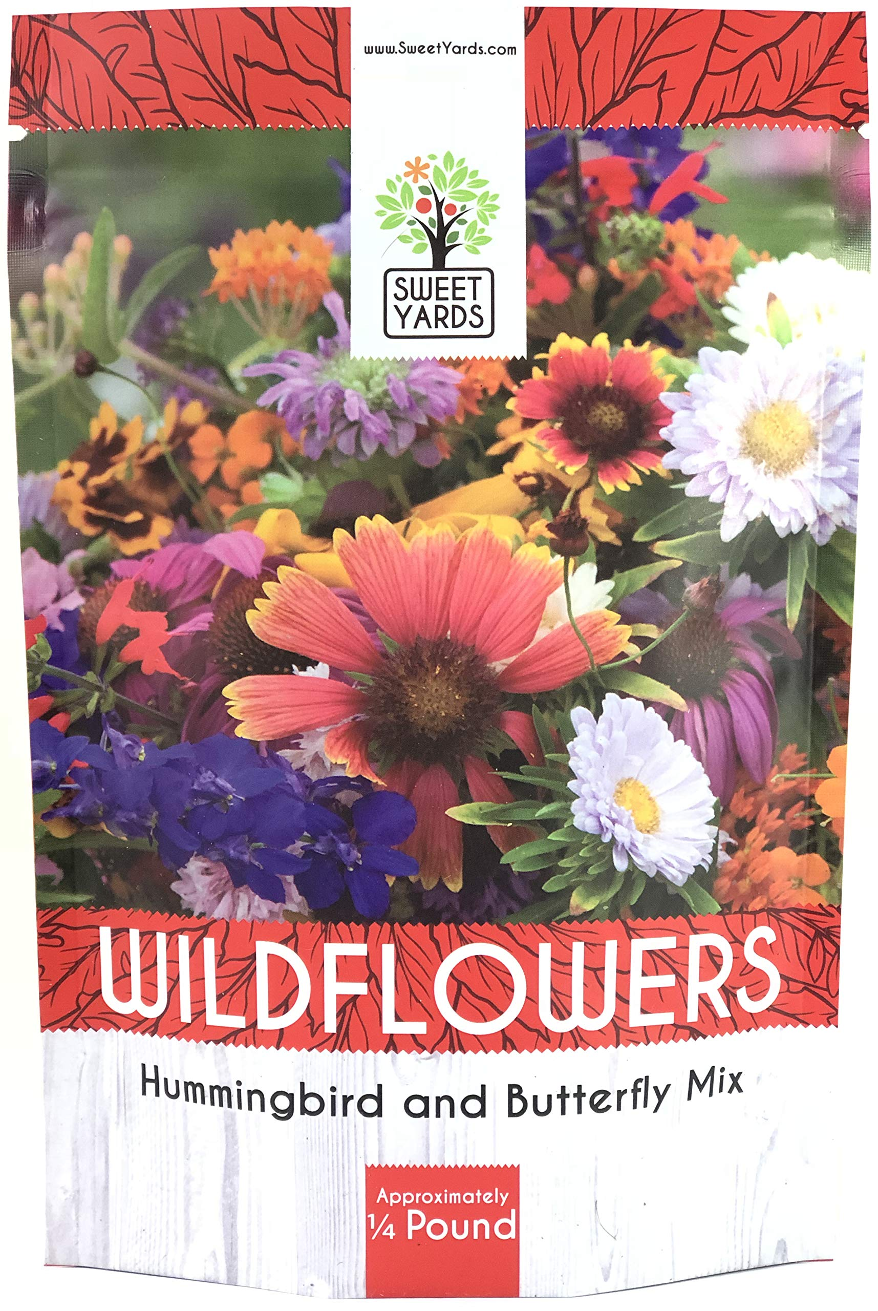 Bulk Wildflower Seeds Butterfly and Humming Bird Mix - 1/4 Pound Bag - Over 30,000 Open Pollinated Annual and Perennial Seeds