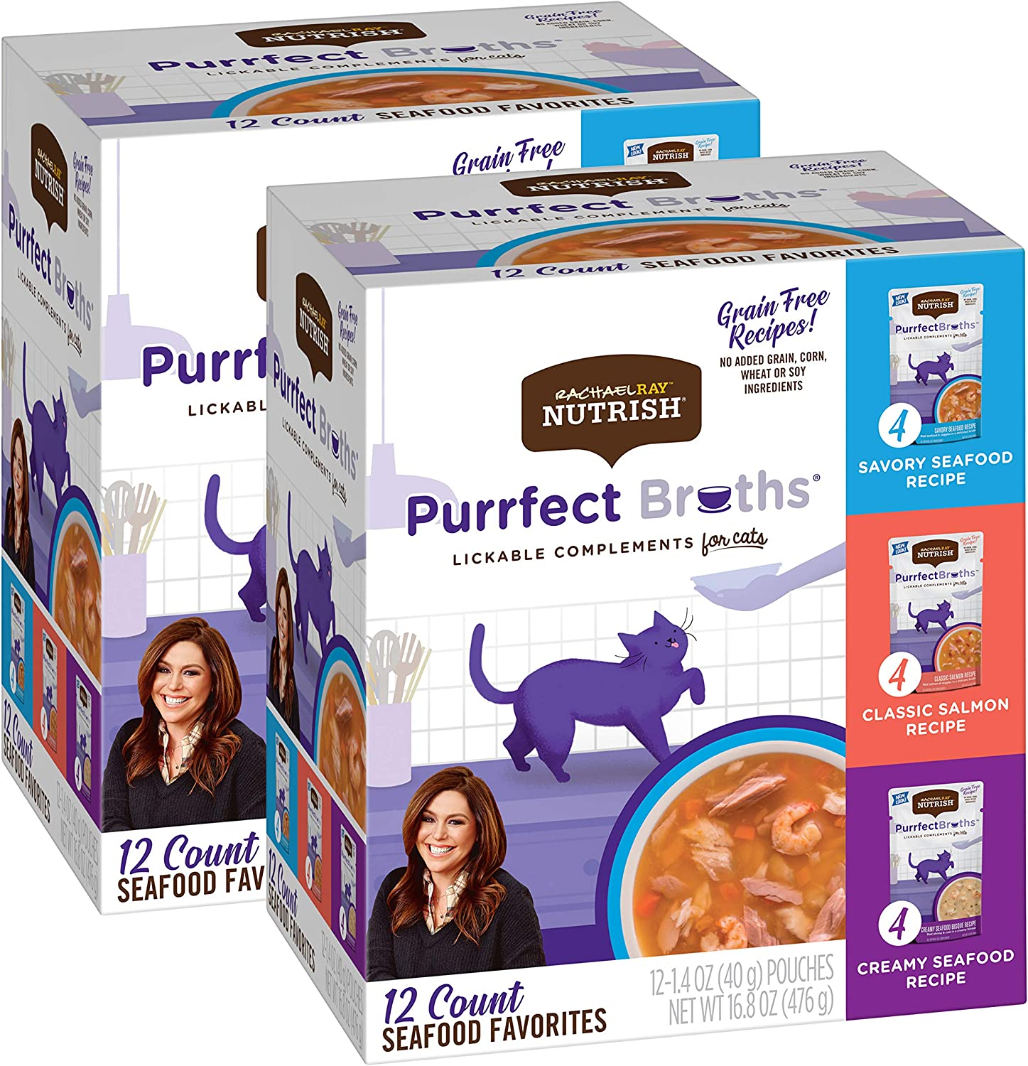 Rachael Ray Nutrish Purrfect Broths Natural Wet Cat Food, Seafood Favorites Variety Pack, 1.4 Ounce Pouch (Pack of 24), Grain Free (Packaging May Vary)