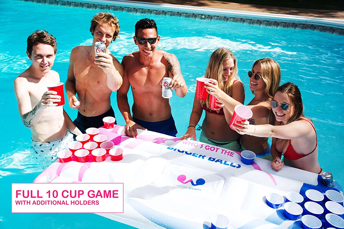 Beer Pong Pool Float - Fun Competitive Design! Inflatable Floating Beer Pong Table and Lounge Floats w Built in Cooler Made of Quality Raft Material, Includes Ping Pong Balls, Great for Pool Parties!