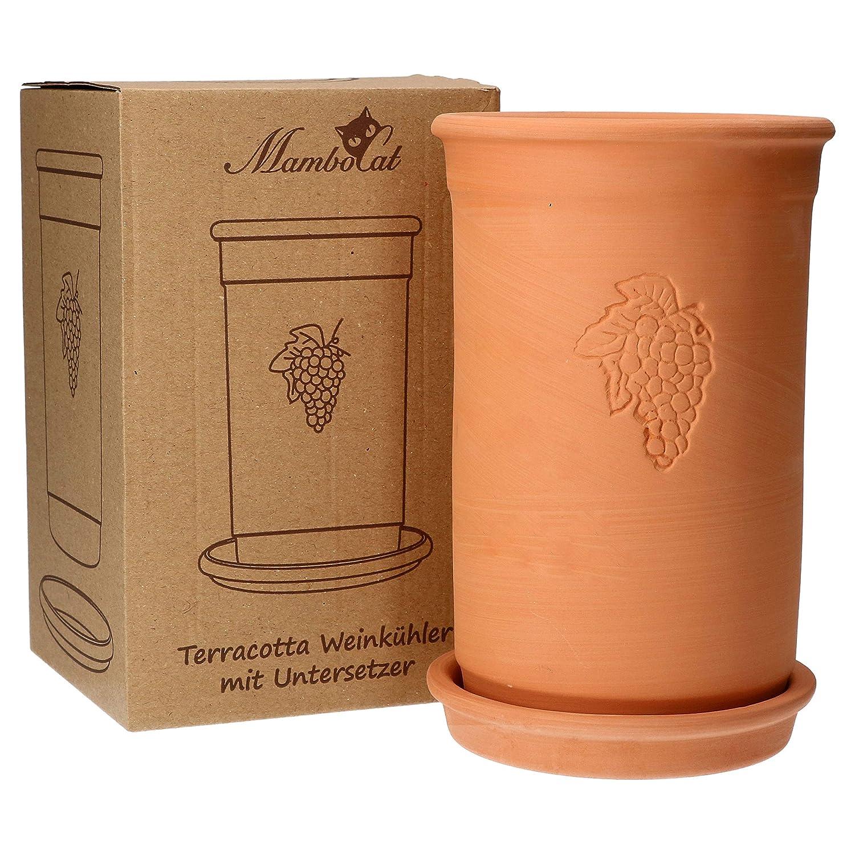 H 20.5 cm k/ühlt stundenlang Terrakotta Untersetzer /Ø 12.5 cm Flaschen-K/ühler f/ür Wasser Wein /& Sekt MamboCat Weink/ühler