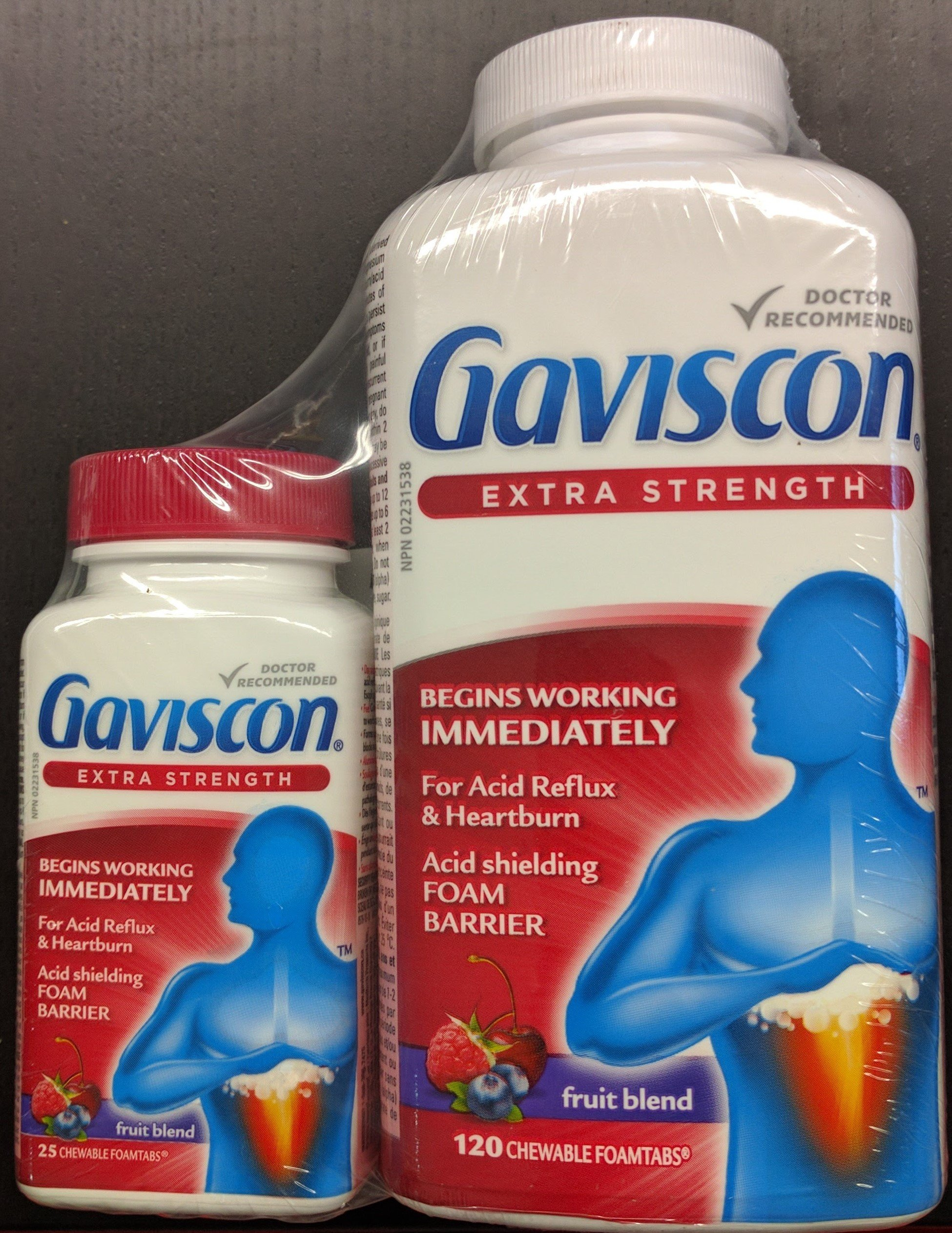 Gaviscon Extra Strength 120 chewable tabs + BONUS 25 Tablet Travel Pack