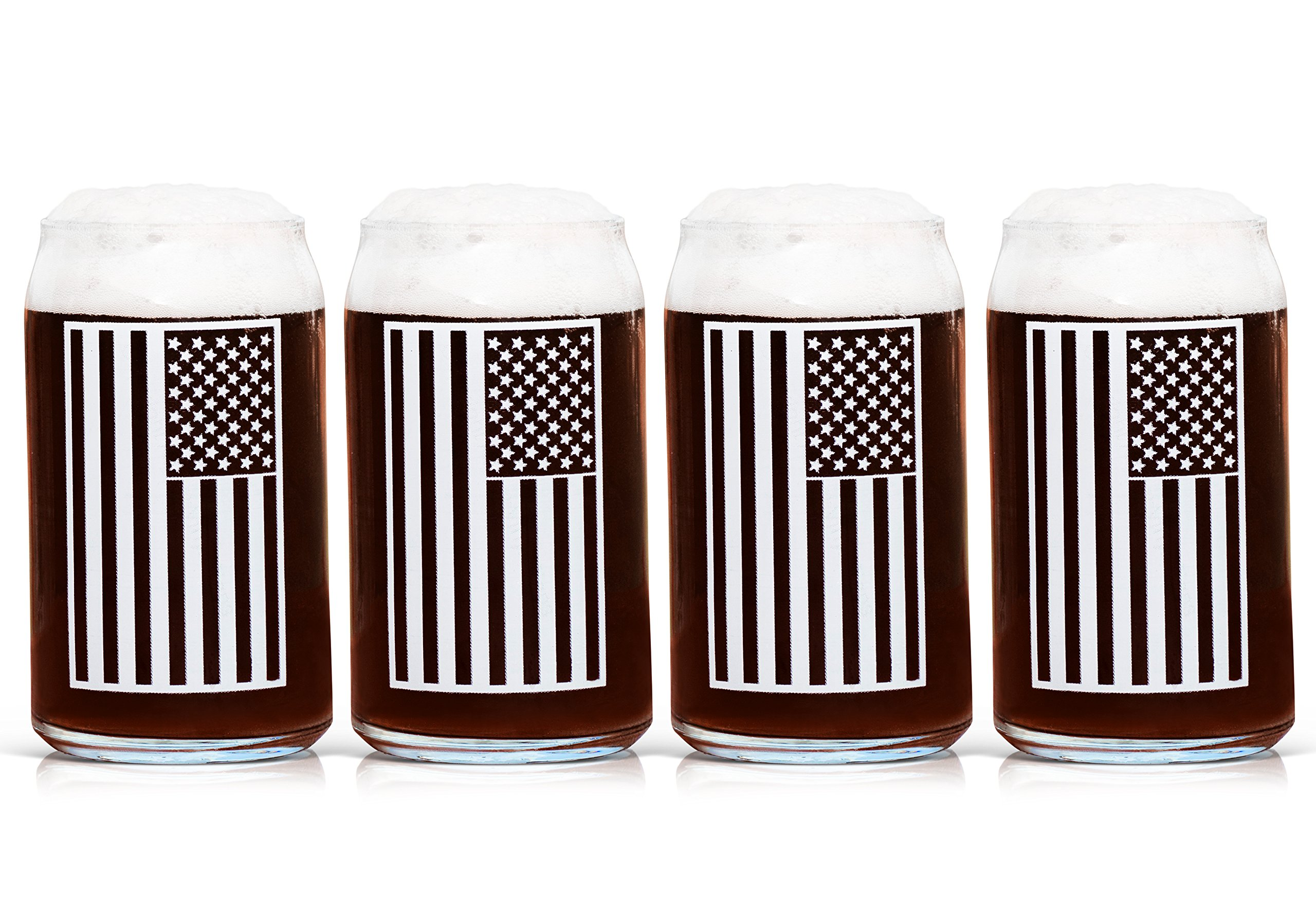 Beer Can Shaped Drinking Glasses Set Of 4 Libby 209 16oz USA American Flag Cool Birthday Present or Gift for Dad, Kitchen, Home Bar, 4th of July!