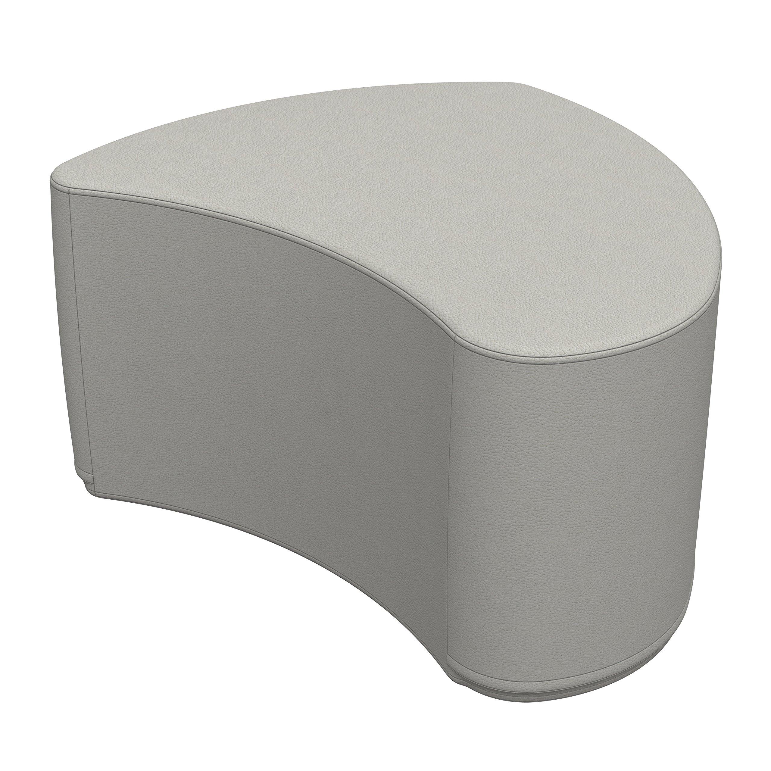 ECR4Kids Softzone Petal Ottoman - Furniture for Kids, Standard 16'' H, Light Grey