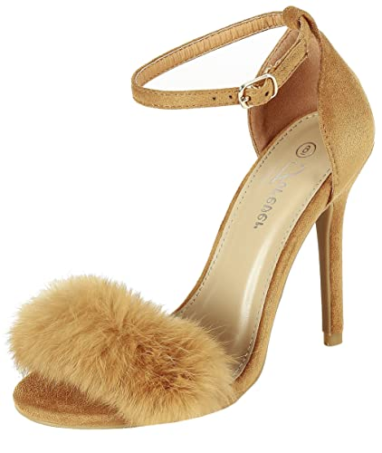 e4faf481d63 Fluffy Feather Furry Strap High Heel Open Toe Dress Sandal (5.5 B(M)