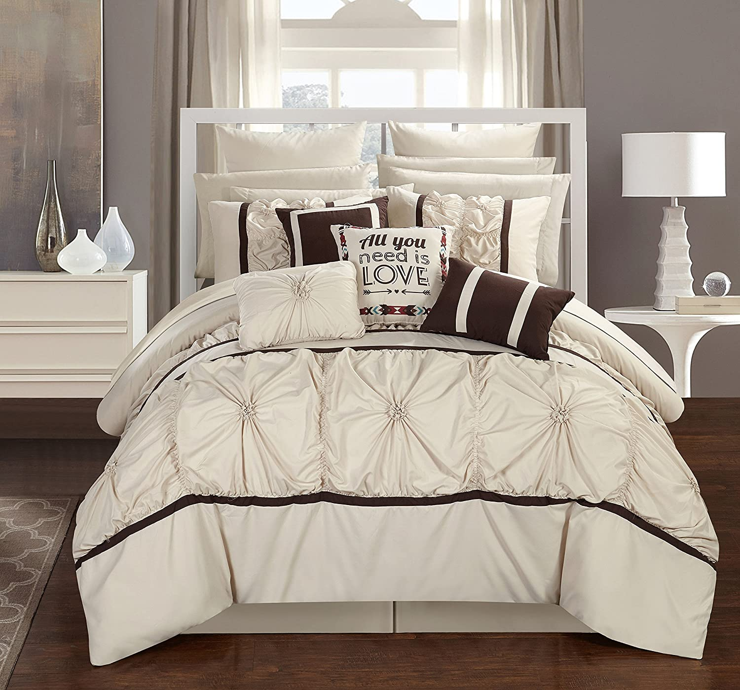 Low Cost Chic Home 16 Piece Legaspi Floral Queen Bed In A Bag,