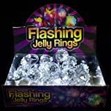 Fun Central AD627 LED Flashing Jelly Bumpy Rings - White 24ct Light Up