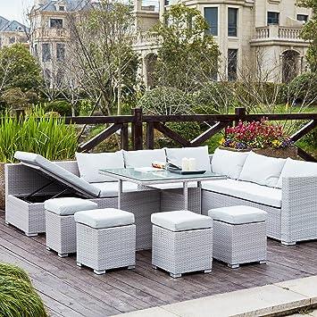 Concept-Usine Fidji Gris/Blanc : salon de jardin encastrable en ...