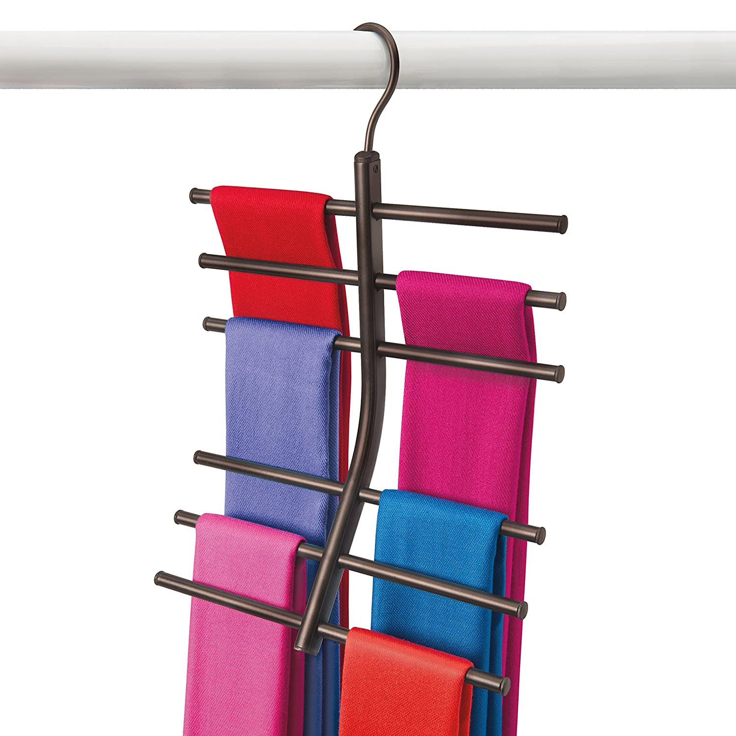 Lynk Hanging Tiered Scarf Holder - Closet Hanger - Organizer Rack - Platinum Lynk® 144232