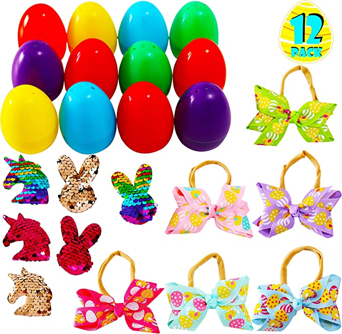 Easter Unicorn Filled Plastic Eggs Bundle with a Unicorn Bunny Ears Headband and Sticker of Unicorns and Rainbows