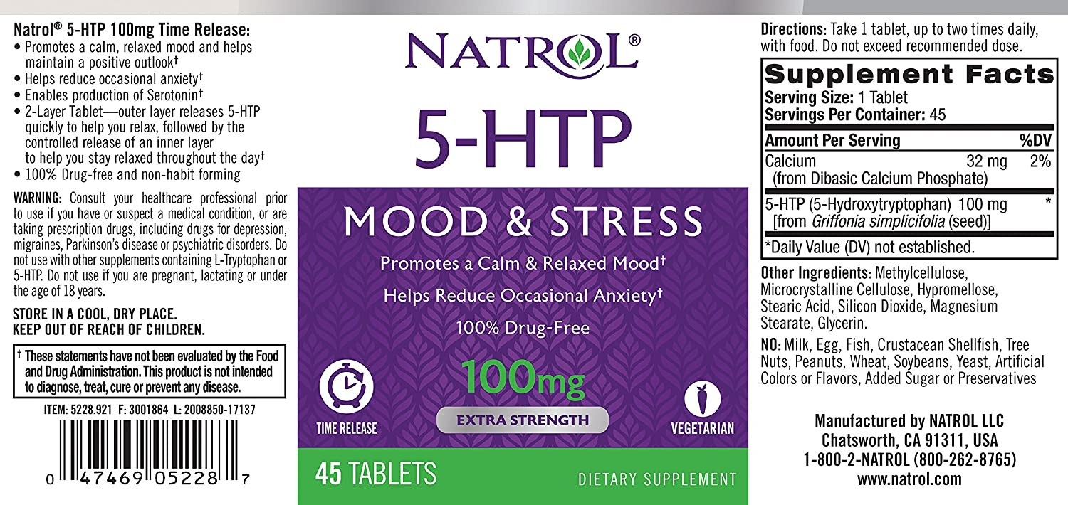 Natrol (Incl Laci Le Beau Teas) 5-Htp Time Release 45 Tablets Promotes Mood & Helps Sleep Controls Appetite Dietary Supplement: Amazon.es: Salud y cuidado ...