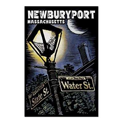 Newburyport, Massachusetts - Street Lamppost at Night - Scratchboard (Premium 1000 Piece Jigsaw Puzzle for Adults, 20x30, Made in USA!): Toys & Games