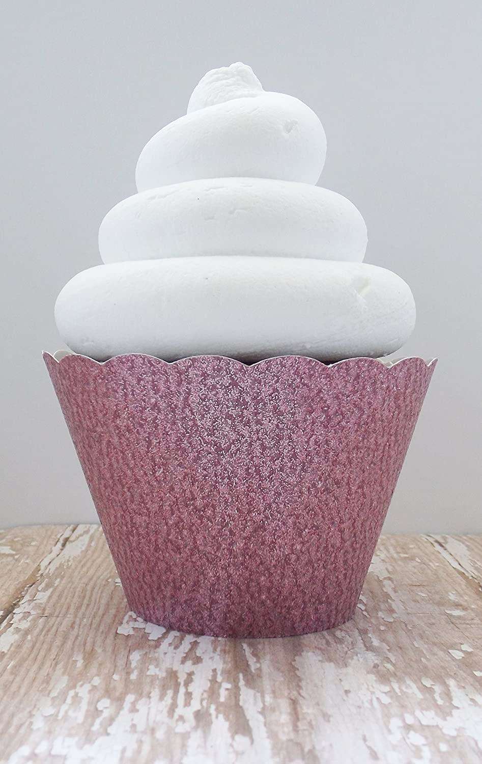 Pink Glitter Cupcake Wrappers - Standard and Mini Sized Holders - Set of 12