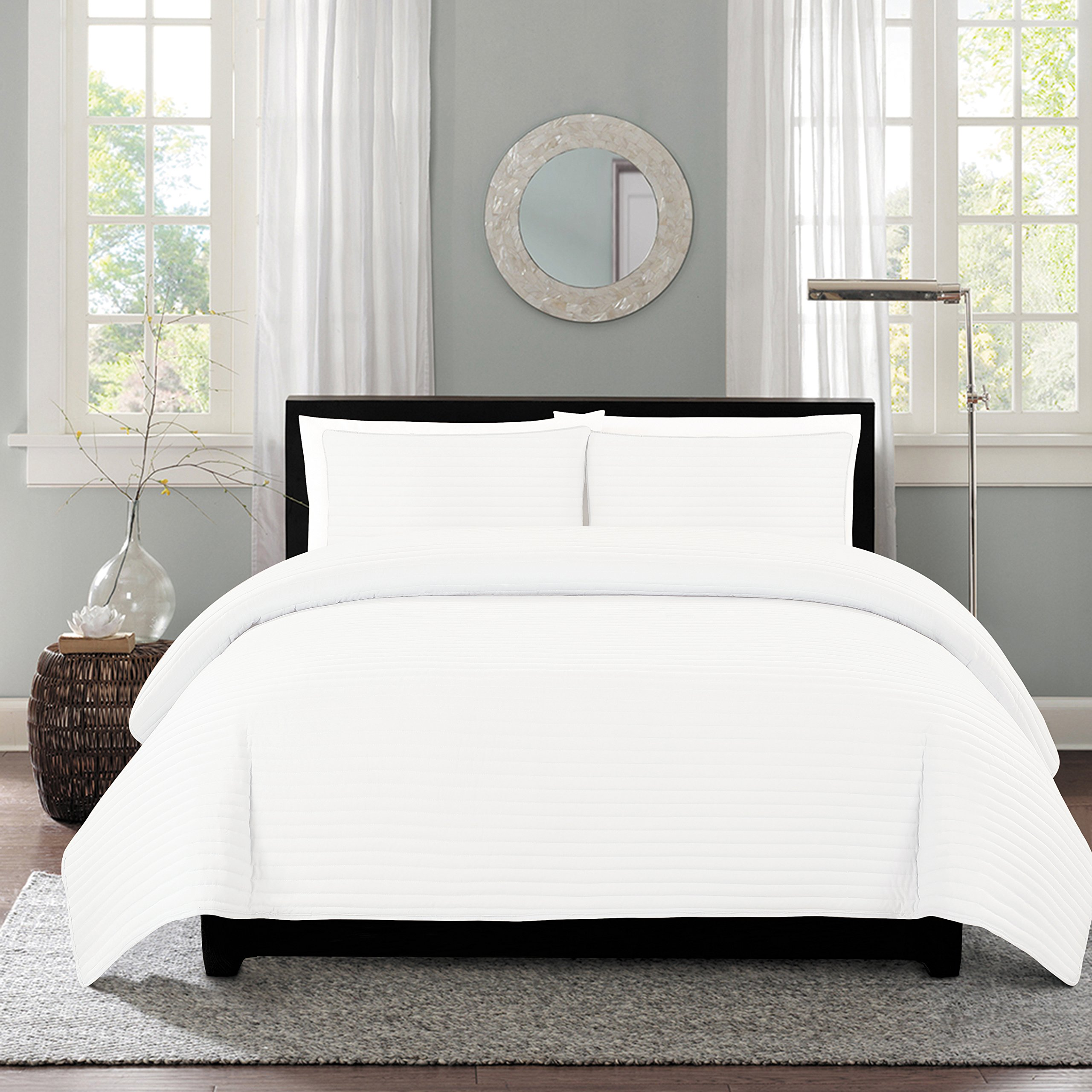 NC Home Fashions One Inch Channel quilt set, King, Bright White by NC Home Fashions Inc. (Image #3)