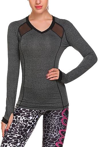 Women Long Sleeve Yoga Shirts Mesh Splicing Moisture Wicking Workout Running Tops//Underscrub Tee with Thumb Hole