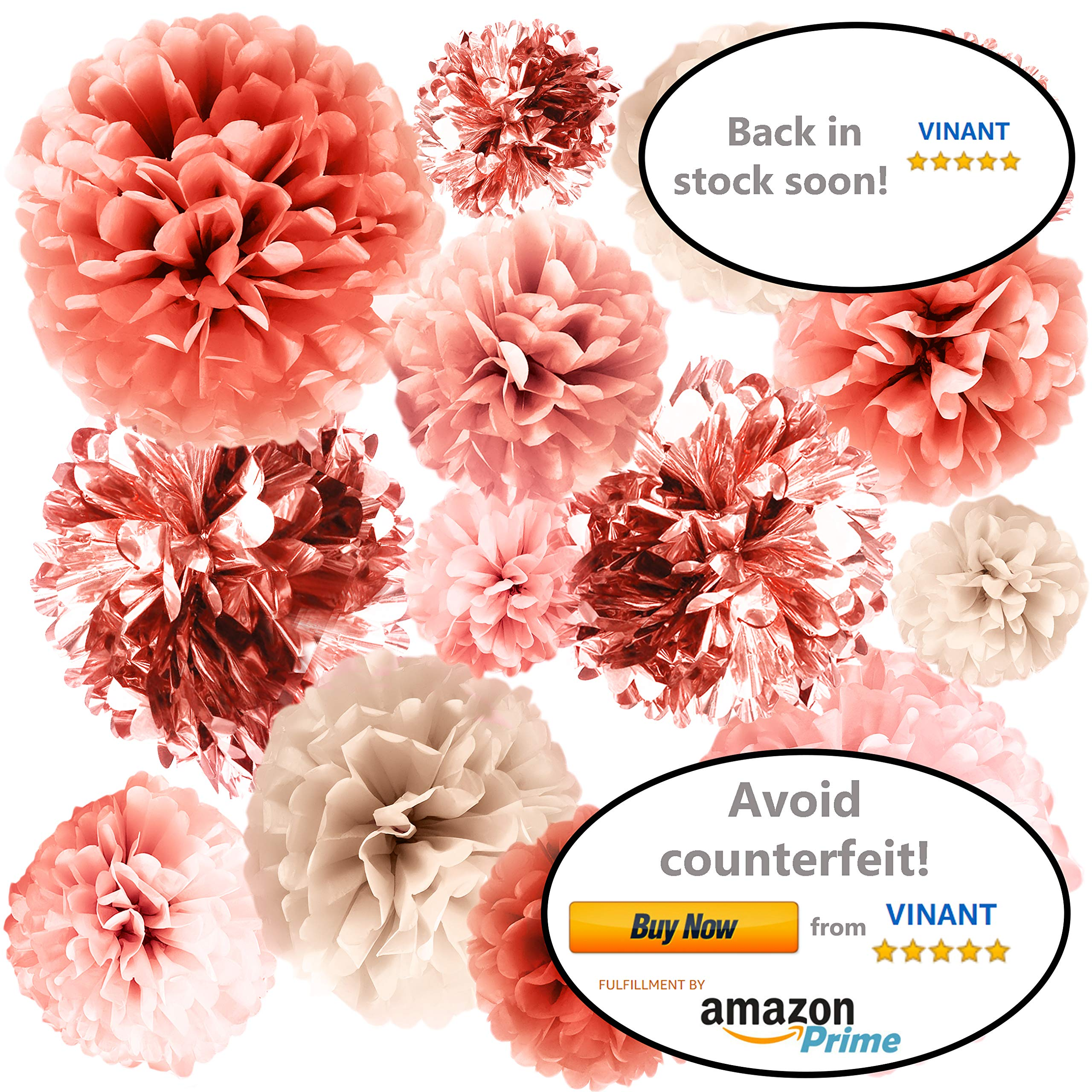 VINANT 20 PCS Rose Gold Party Decorations - Metallic Foil and Tissue Paper Pom Poms - Baby Shower - Bridal Shower - Wedding - Bachelorette - Birthday Party - 14'', 10'', 8'', 6''