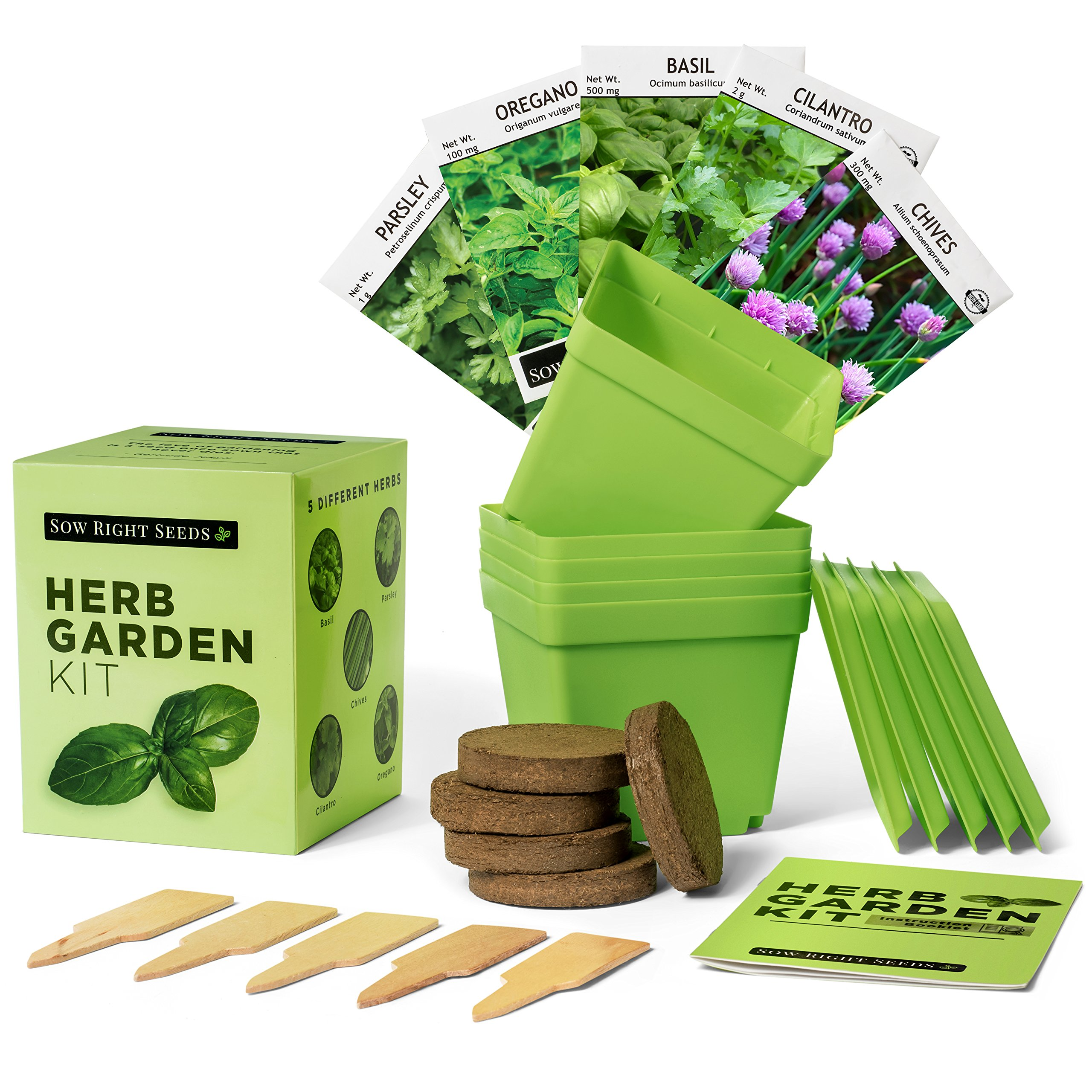 Indoor Herb Garden Starter Kit - Full Size Seed Packets of Basil, Chives, Cilantro, Oregano & Parsley - Everything You Need to Grow Herbs in Your Kitchen - Soil, Reusable Pots, Trays, Plant Markers, by Right Hardware (Image #1)