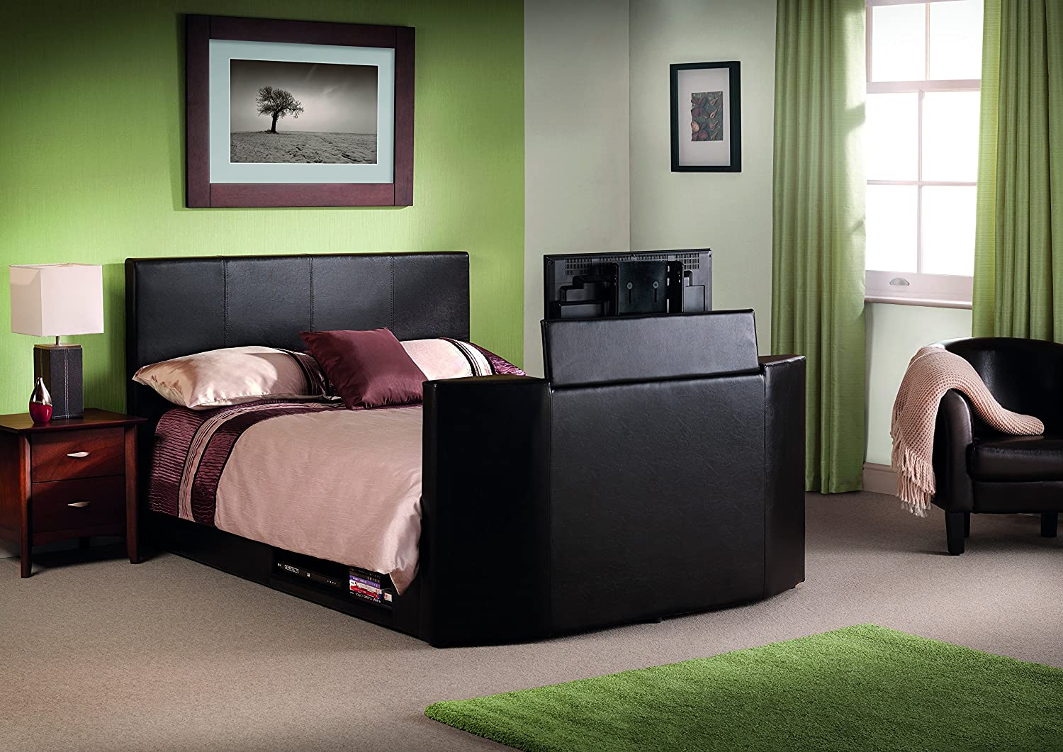 Julian Bowen Standard UK Double Optika TV Bed, 135 cm, Brown: Amazon ...