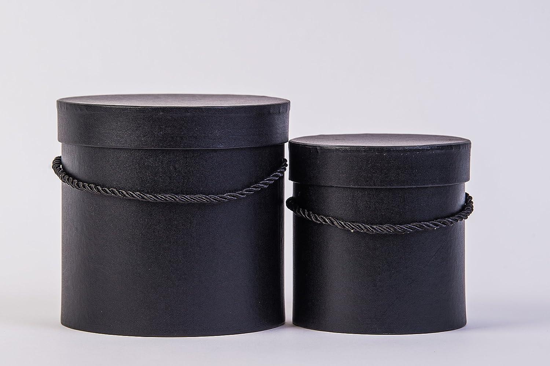 Juego de 2 cajas redondas con cordel, caja con tapa, caja con color liso, caja de regalo, personalizable, papel, Negro , 15,50 x 15 cm: Amazon.es: Hogar