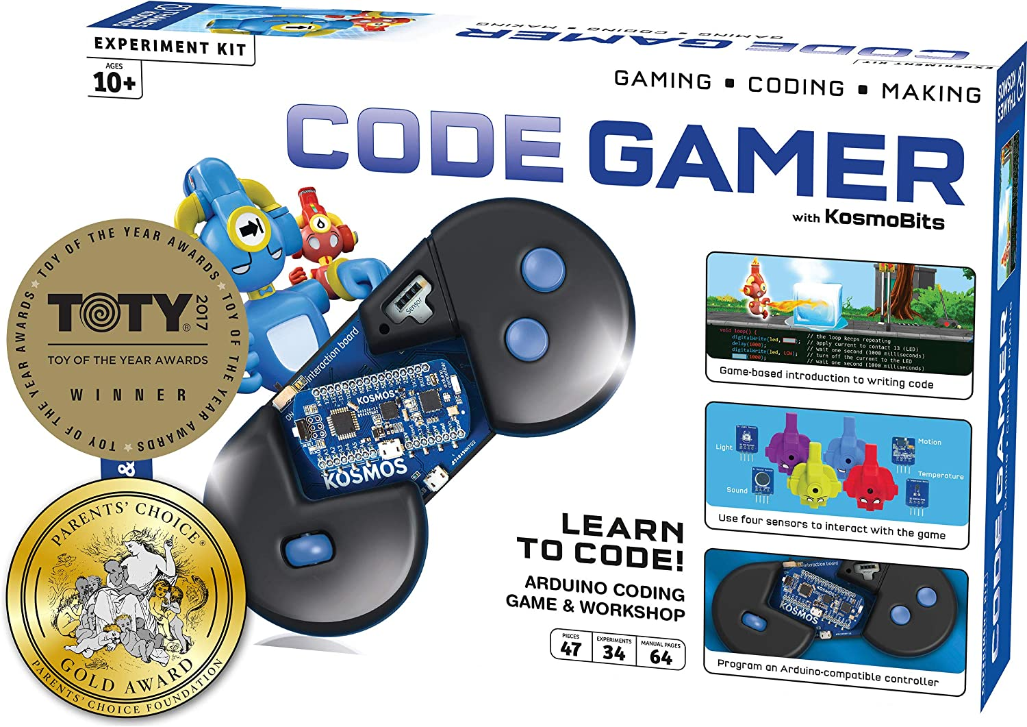 Thames & Kosmos Code Gamer: Coding Workshop & Game | Ios + Android Compatible | Learn To Code | Four Sensors | Powerful Arduino Board | Winner Toy of The Year Award | Parents' Choice Gold Award Winner