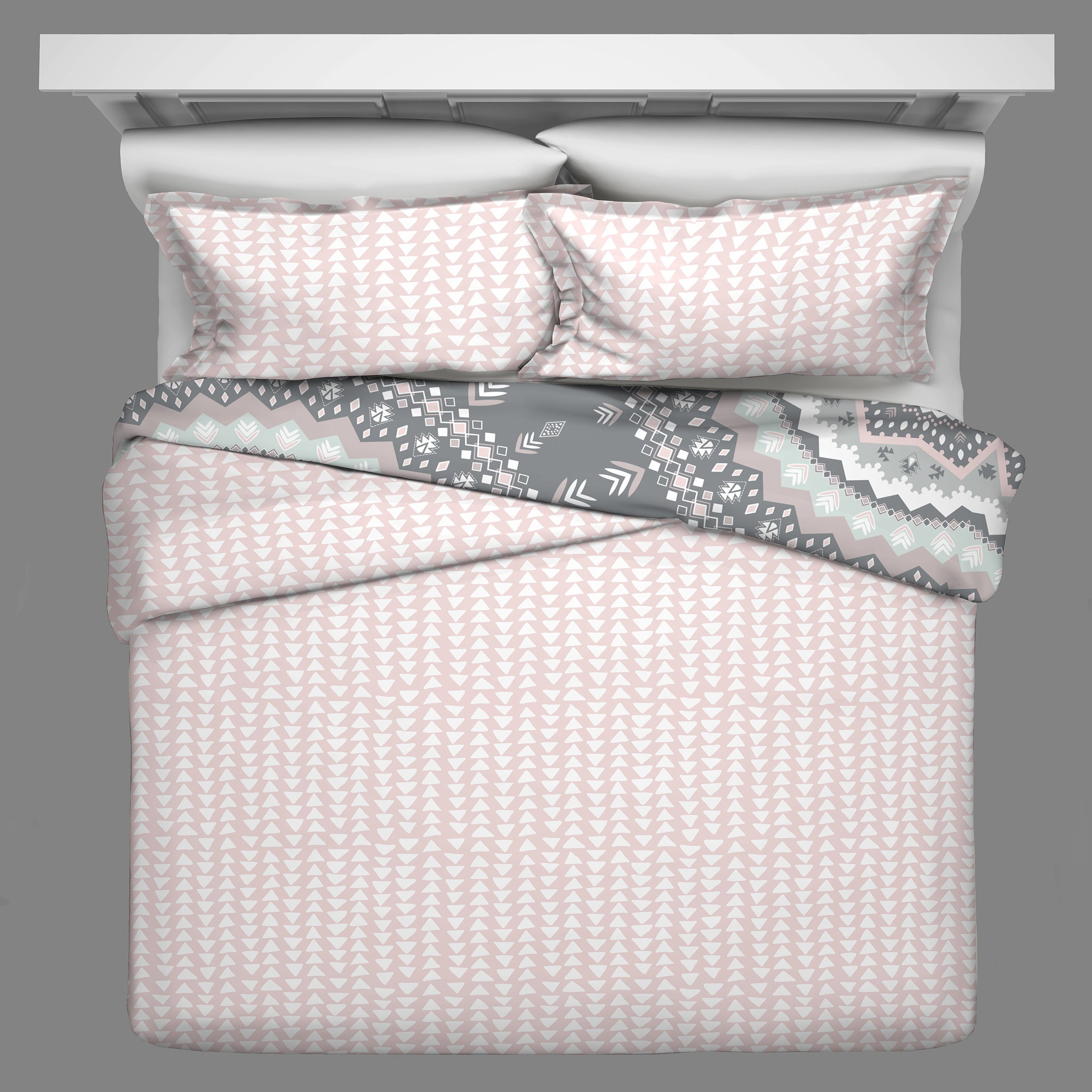 3 Piece Girls Light Pink White Grey Bohemian Mandala Comforter Full Queen Set, Girly All Over Tribal Southwest Arrow Bedding, Multi Boho Chic Tribe Southwestern Native American Themed Pattern, Gray