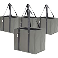 Reusable Grocery Bags | Strong and Sturdy Grocery Shopping Bags, Large, Foldable (4 Pack - Grey)