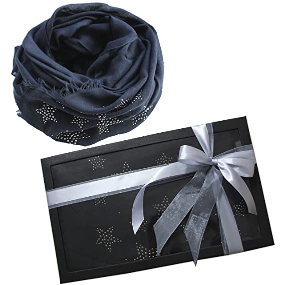 2300cc2b6b8 FERETI Écharpe De Printemps Femme Noir D étoile Foulard Emballage Cadeau  Étoile Strass Etoles Châles
