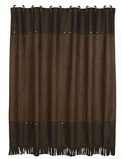 Amazon HiEnd Accents Faux Tooled Leather Western Shower Curtain
