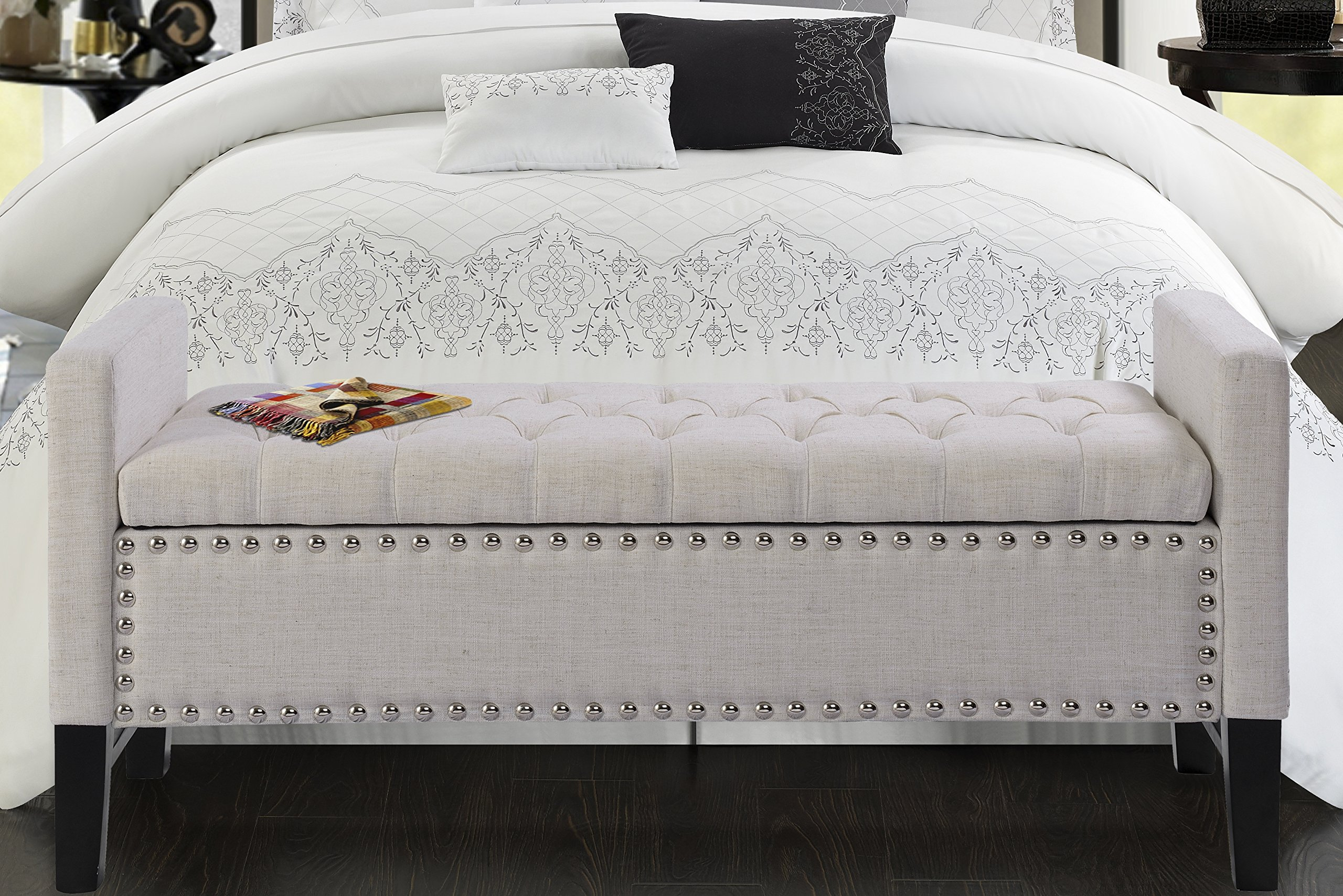 Iconic Home Lance Linen Modern Contemporary Button Tufted with Silver Nailheads Deco on Frame Storage Lid Can Stop At Any Position Bench, Cream White
