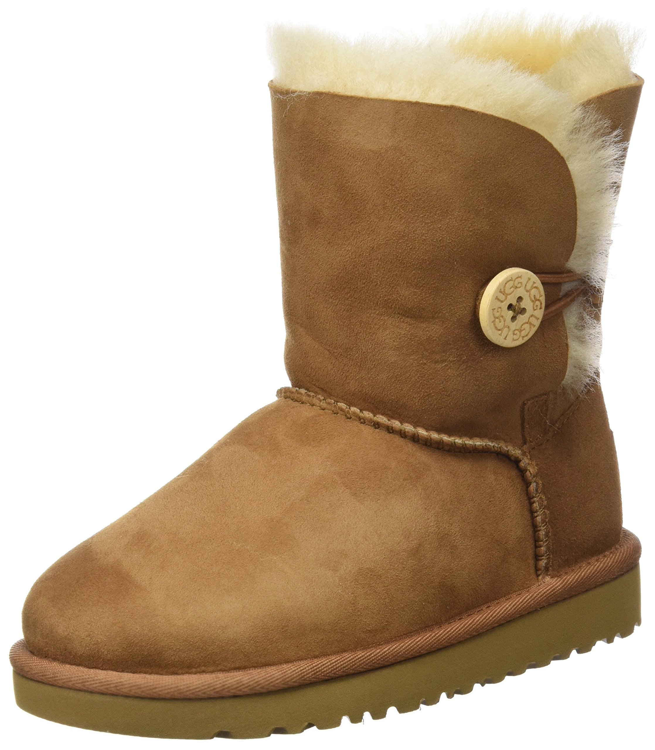 UGG Girl's Bailey Button Boot, Chestnut, 13 Little Kid M