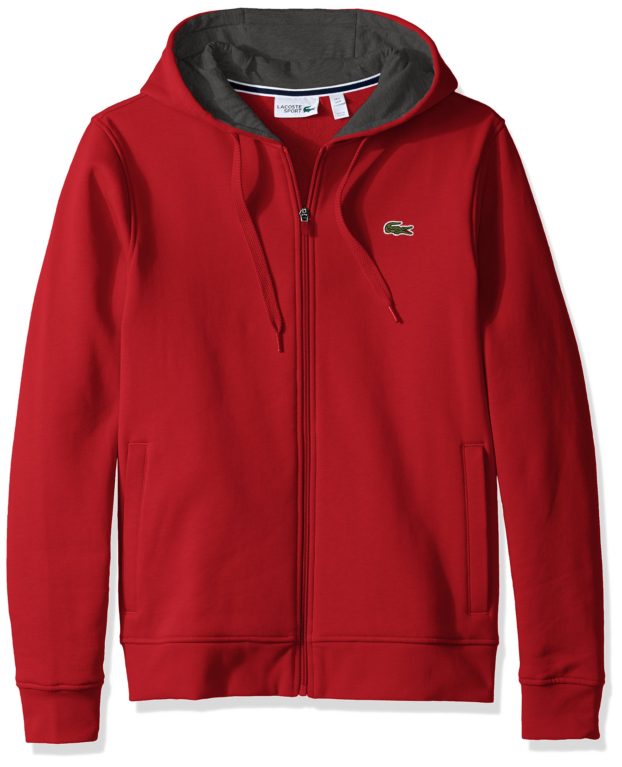 Lacoste Men's Full Zip Hoodie Fleece Sweatshirt, Red/Pitch, Small