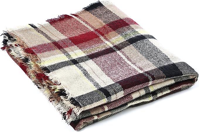 Lot of 4 Warm Fleece Plaid Scarves Pink Black Brown New