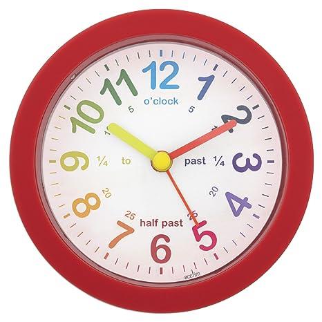 Acctim 14604 Lulu - Reloj despertador para aprender las horas en inglés, color rojo